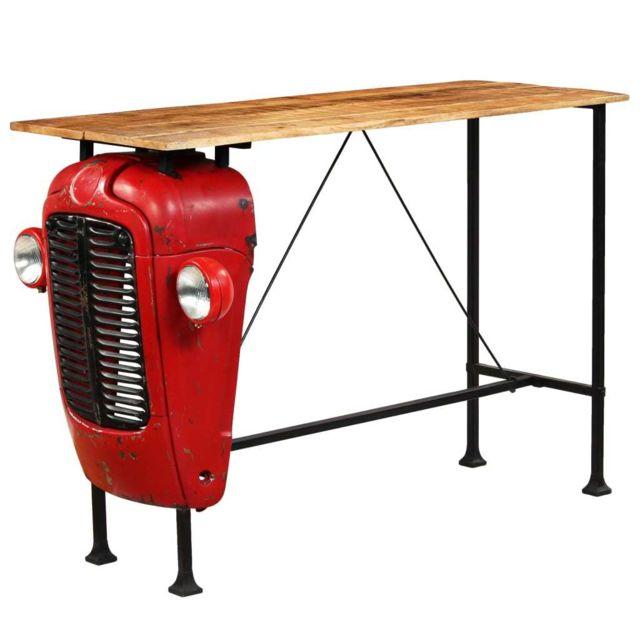 Icaverne Joli Tables ligne Monaco Table de bar Bois de manguier 60x150x107 cm Rouge Tracteur
