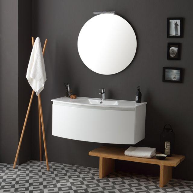 Kiamami Valentina Armoire De Toilette Suspendue 102 Cm LaquÉ Blanc Avec Miroir Rond | Riva