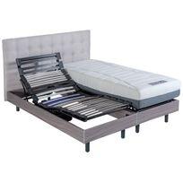 Altobuy - Saona - Sommier 2x90x200cm électrique + Tête de lit