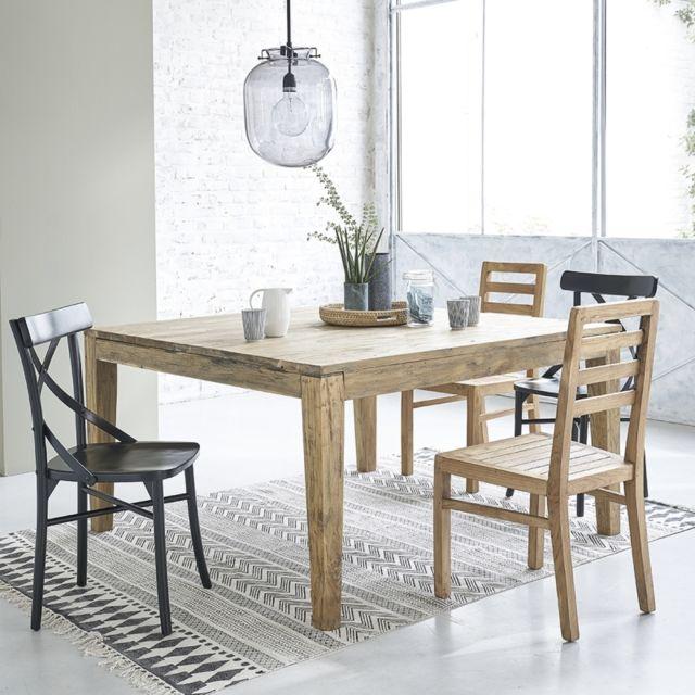 bois dessus bois dessous table en bois de teck recycl avec rallonges 10 12 couverts 140cm x. Black Bedroom Furniture Sets. Home Design Ideas
