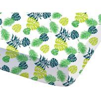 Disney - Drap housse 100% coton feuilles tropicales vertes 90x190cm Le Livre De La Jungle