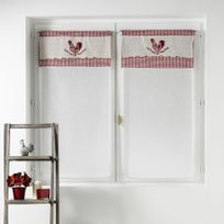 Couleur Campagne - Cdaffaires Paire droite passe tringle 2 x 60 x 160 cm voile sable+top brode patty Rouge
