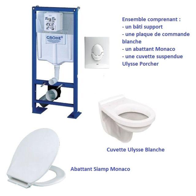 Porcher - Lot Bati-support wc grohe Rapid SL + plaque de commande blanche + 7d7dbc581920