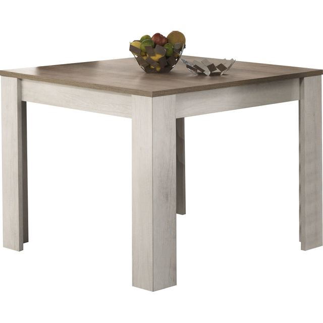 Comforium Table à manger carrée contemporaine 100 cm coloris chêne blanchi et chêne clair