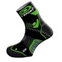 Bv Sport - Socquettes Trail Evolution Stx Noires Et Vertes Chaussettes Trail