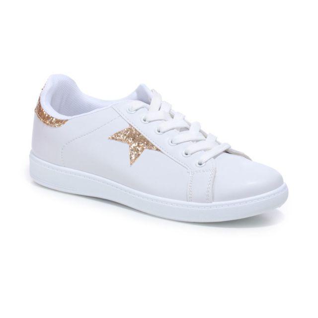 unique design best online where to buy La Modeuse - Baskets blanches avec détail étoilé doré et ...
