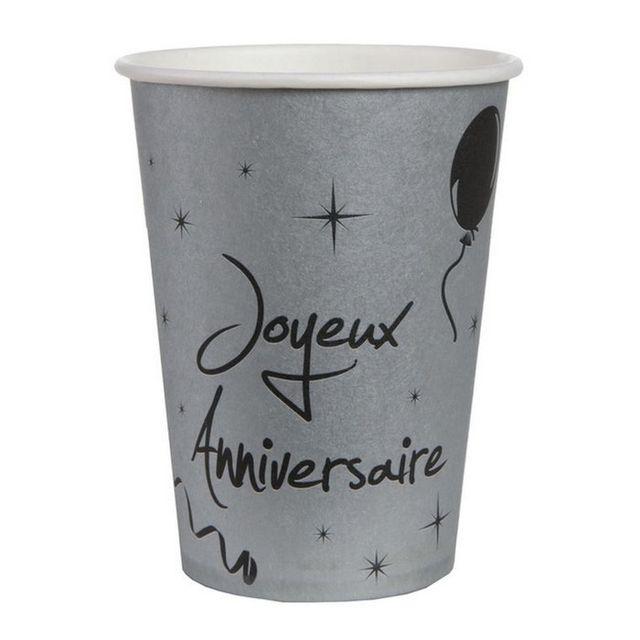 1001decotable gobelet argent joyeux anniversaire x10 pas cher achat vente vaisselle. Black Bedroom Furniture Sets. Home Design Ideas