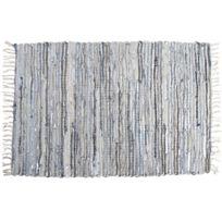 AUBRY GASPARD - Tapis en jeans et cuir argenté