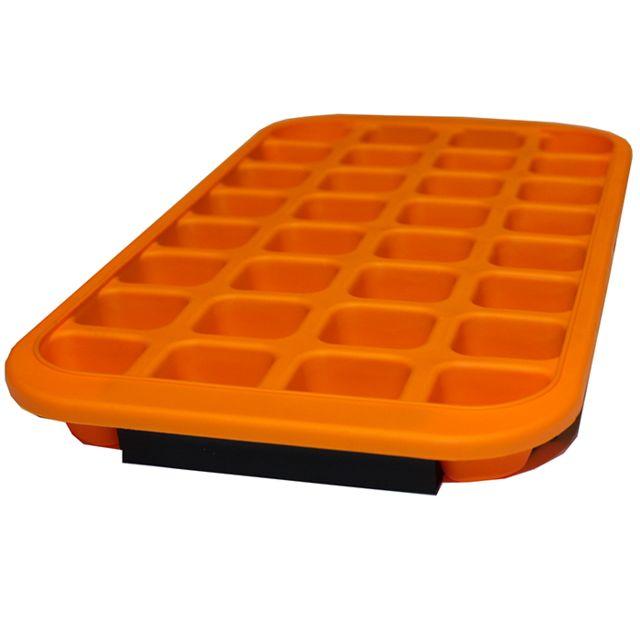 Touslescadeaux Moule Bac à Glaçons Silicone Souple + Support Rigide - Orange