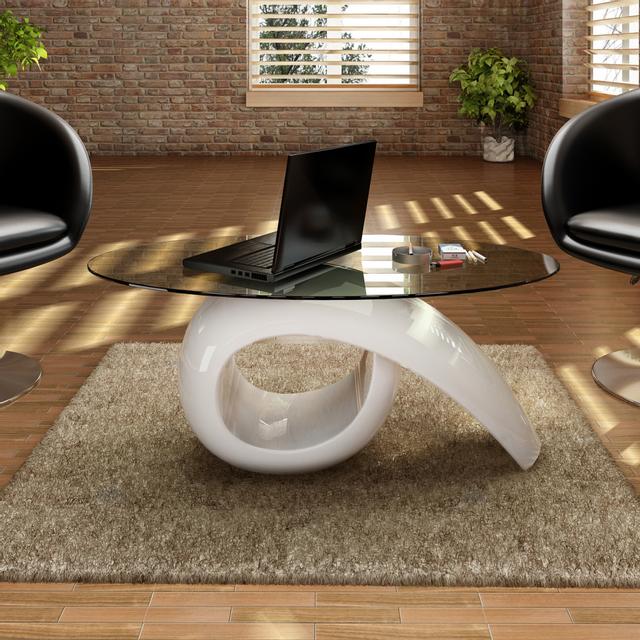 Rocambolesk Superbe Table basse brillante blanche avec plateau en verre Neuf