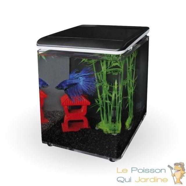 Le Poisson Qui Jardine Aquarium design 8 litres noir complet pour eau douce et eau de mer