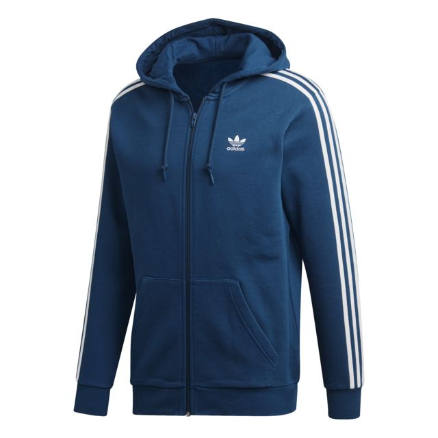 Adidas Hoodie zip 3 Stripes pas cher Achat Vente Tee