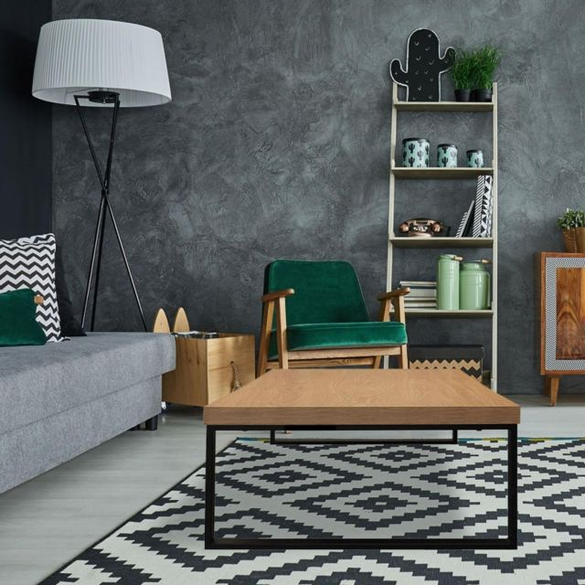 Ego Design Table basse Loft bois et metal noir