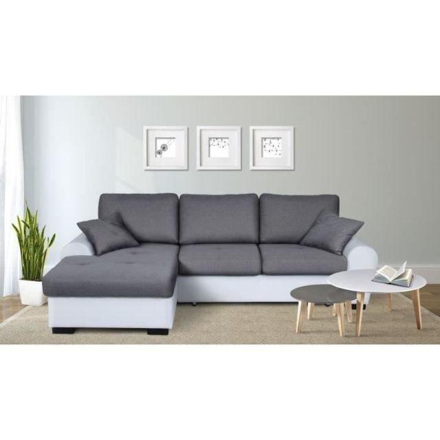 CANAPE - SOFA - DIVAN JENA Canapé d'angle gauche convertible 3-4 places + Coffre de rangement - Tissu gris clair et simi