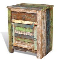 Vida - Table de chevet vintage Multicolore 1 tiroir 1 porte