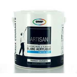 onip peinture acrylique blanche bicouche mat existe en 2 5 et 10l 2 5 pas cher achat. Black Bedroom Furniture Sets. Home Design Ideas