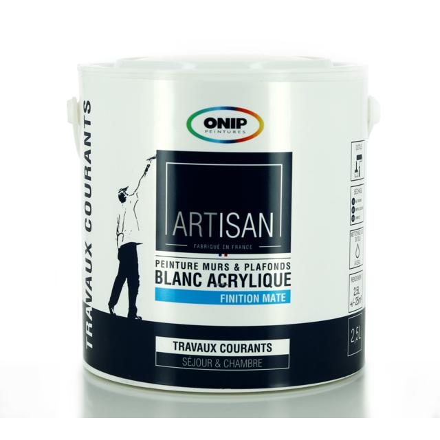 onip peinture acrylique blanche bicouche mat existe en 2 5 et 10l pas cher achat vente. Black Bedroom Furniture Sets. Home Design Ideas