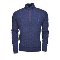 Ralph Lauren - Pull col montant en soie bleu marine pour homme