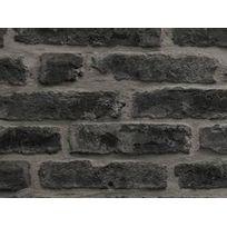 Graham And Brown - Papier peint vinyle grainé intissé motif brique gris anthracite 10.05x0.52m Industry