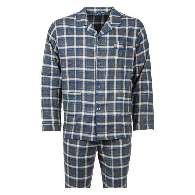 Guasch Pyjama chemise long en coton gris chiné et gris anthracite à carreaux