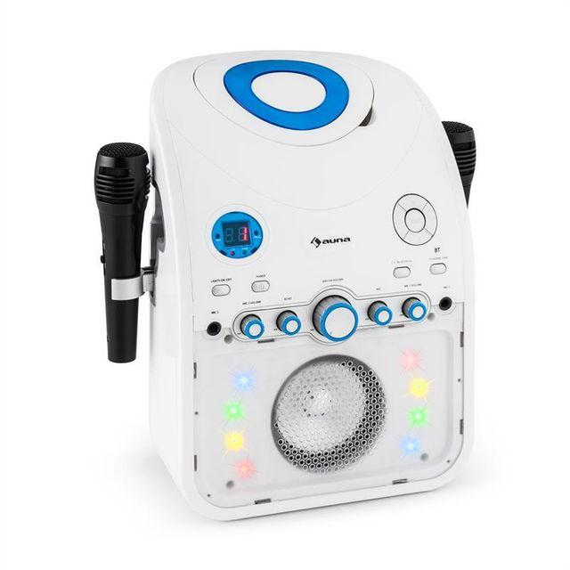 AUNA StarMaker Chaîne karaoké lecteur CD Bluetooth AUX LED 2 micros -blanc