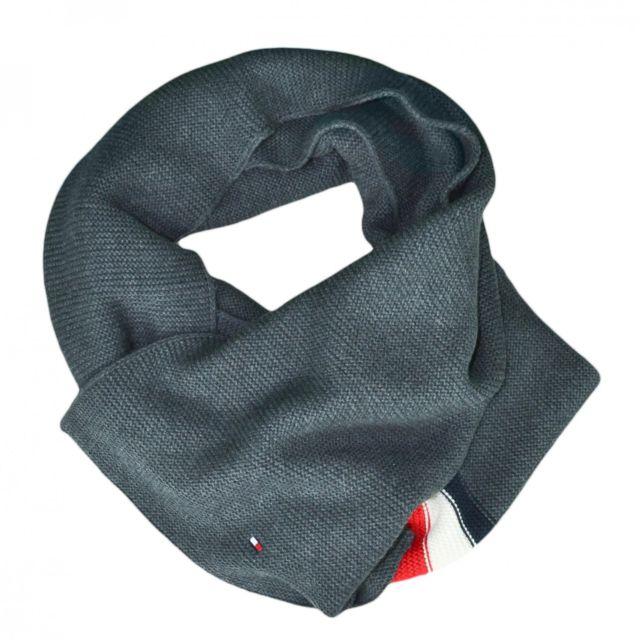 255e457b5de4 Tommy hilfiger - Echarpe grise bandes bleu blanc rouge pour homme - pas  cher Achat   Vente Etoles, châles - RueDuCommerce