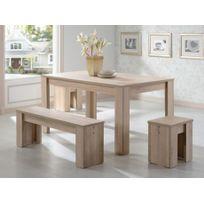Marque Generique - Ensemble Table + 1 banc et 2 tabourets Alarie - 6 couverts - Coloris chêne