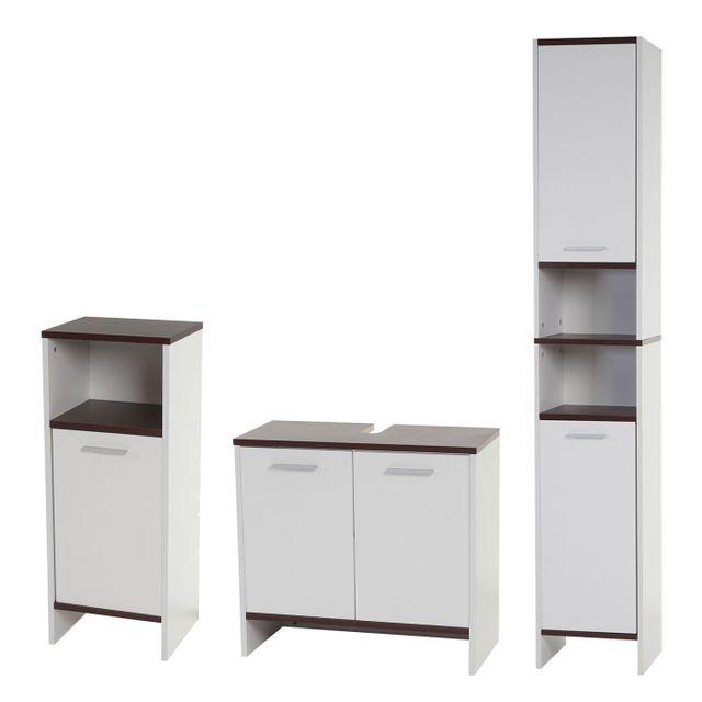 mendler set de salle de bain arezzo meuble sous vier armoire haute commode blanc sols. Black Bedroom Furniture Sets. Home Design Ideas