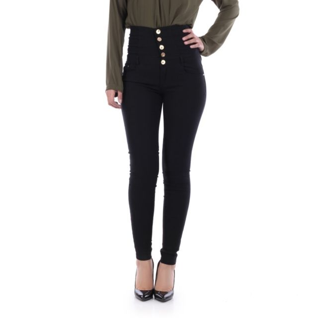 8623cf9325 Lamodeuse - Jeans taille haute détail laçage noir - pas cher Achat ...