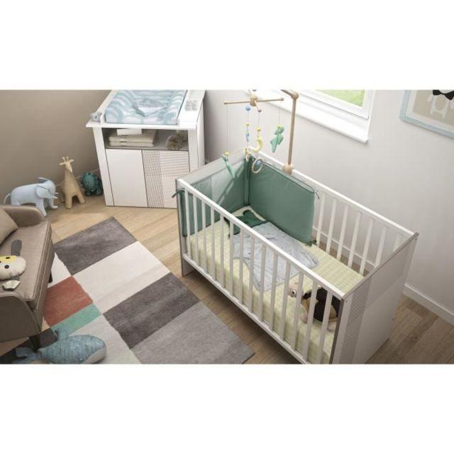 LIT BEBE GAMI Simon Lit bébé 60 x 120 pin blanchi
