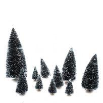 Eminza - Lot de 10 sapins verts enneigés pour village de noël