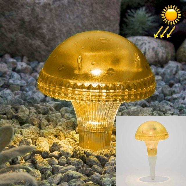 Led Avec panneau solaire jaune lampe de lumière de cour de jardin d\'énergie  de champignon avec 0.2W monocristallin de silicium