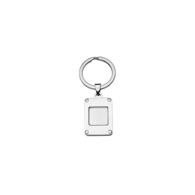 1001BIJOUX - Gros porte clef acier rectangle vitre forme carrée ... 6fcd8348df9