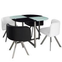 Menzzopremium - Table et chaises Mosaic 90 Blanc et Noir