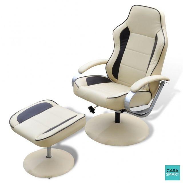 Casasmart Fauteuil de relaxation Joyce avec repose pied blanc et brun