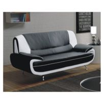 Meublesline - Canapé 2 places Meros noir et blanc design simili cuir