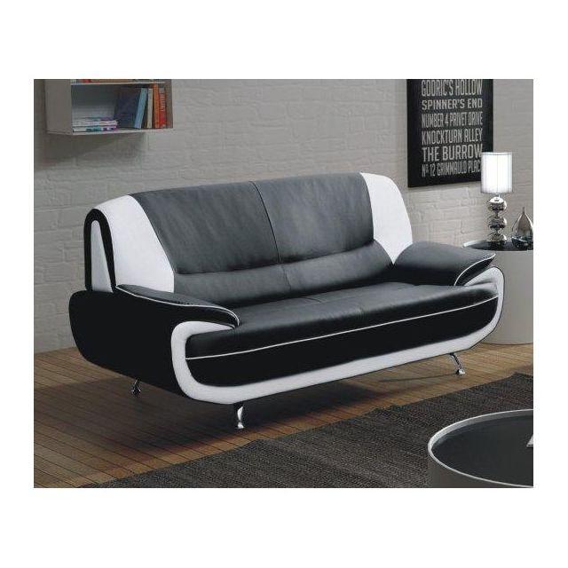 Meublesline Canape 3 Places Meros Noir Et Blanc Design Simili Cuir