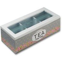 Retro - Boite rectangulaire Fleurie en bois pour le thé
