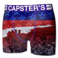 Capster'S Official - Boxer Homme Microfibre Nyc Rouge Bleu