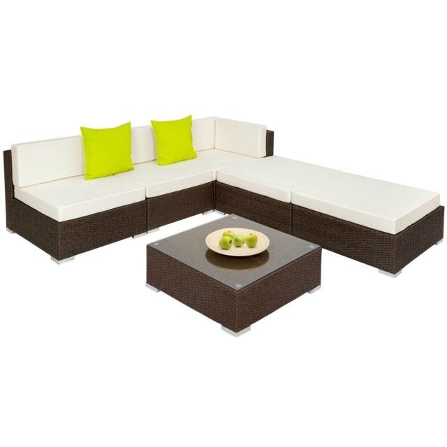 HELLOSHOP26 Salon de jardin rotin résine tressé synthétique marron 6 pièces 2108032