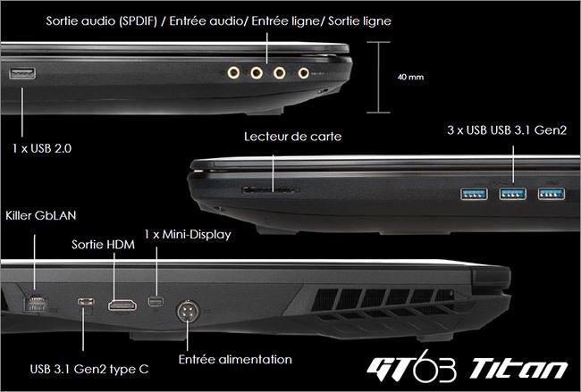 MSI GT63 - Réseau et connectique