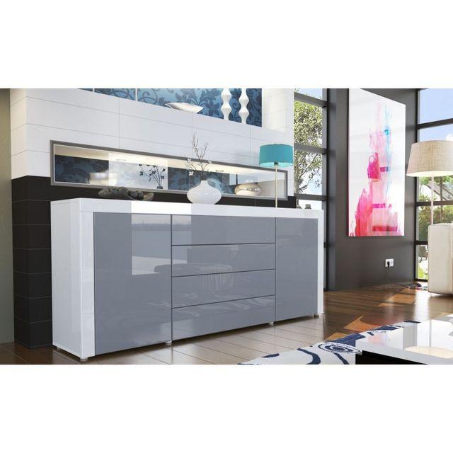 Mpc Buffet design laqué blanc / gris
