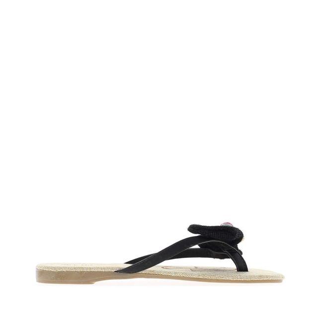 37419a9c6cf59 Chaussmoi - Nu-pieds noirs à talonette de 1cm - pas cher Achat ...