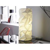Mathias - Lampe à poser en céramique effet froissé blanc hauteur 30cm diamètre 14cm Oki