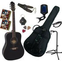 Msa - Pack Guitare Acoustique Folk Noire 9 Accessoires