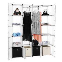 Rocambolesk - Superbe Armoire Penderie Cubes/étagère de rangement modulables plastiques cadre en métal 2 barres à vêtement, 180 x 145 x 37cm Lpc30W neuf