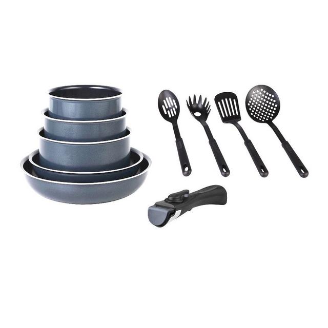 marc veyrat batterie de cuisine 10 pi ces grise. Black Bedroom Furniture Sets. Home Design Ideas