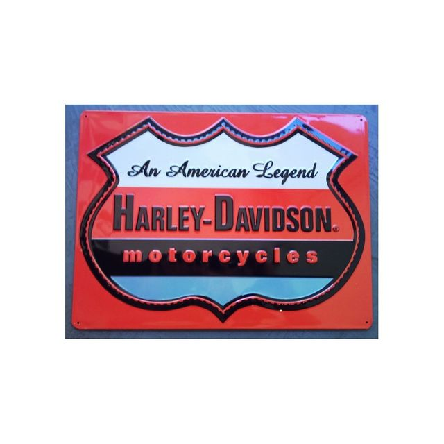 Universel Plaque Harley Davidson an american legend logo orange usa