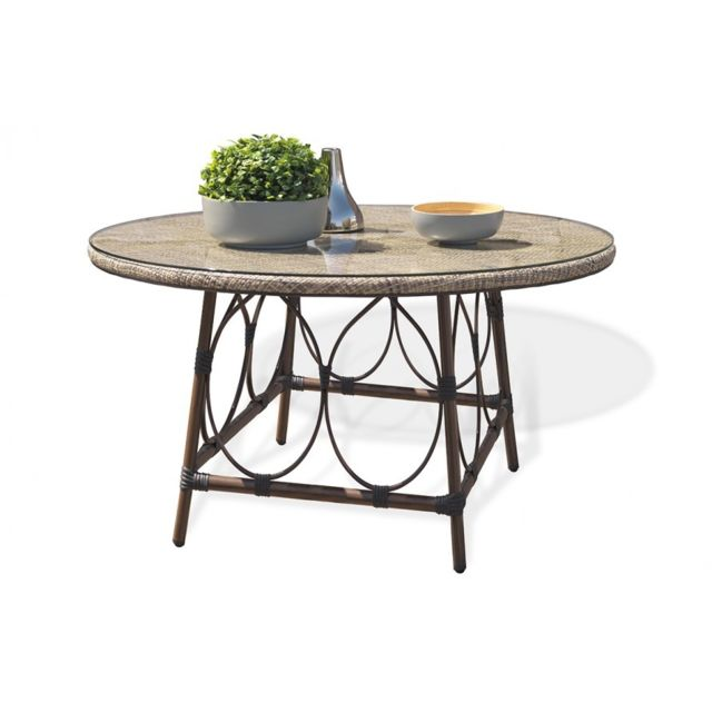 Dcb Garden Table en aluminium marron et textilène couleur lin