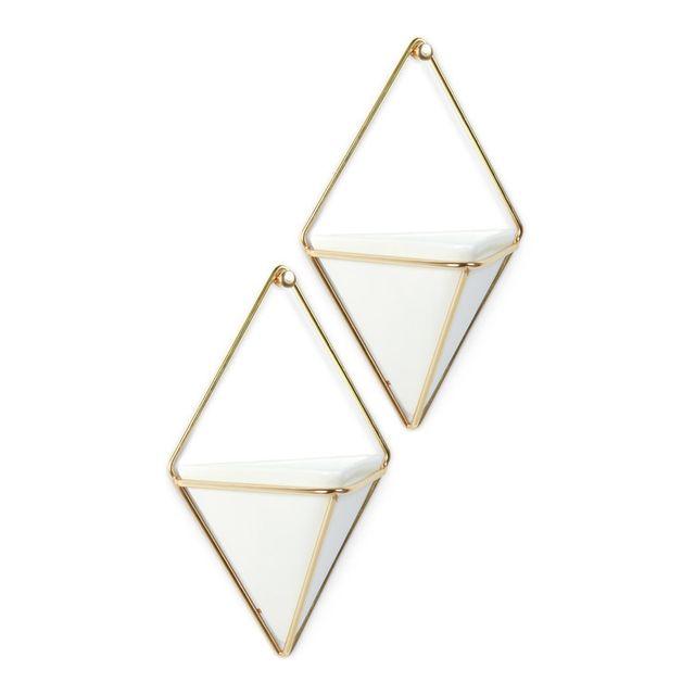 Umbra - Cache pot porcelaine à suspendre support en métal forme losange - Lot de 2 Trigg Blanc - 0cm x 0cm x 0cm
